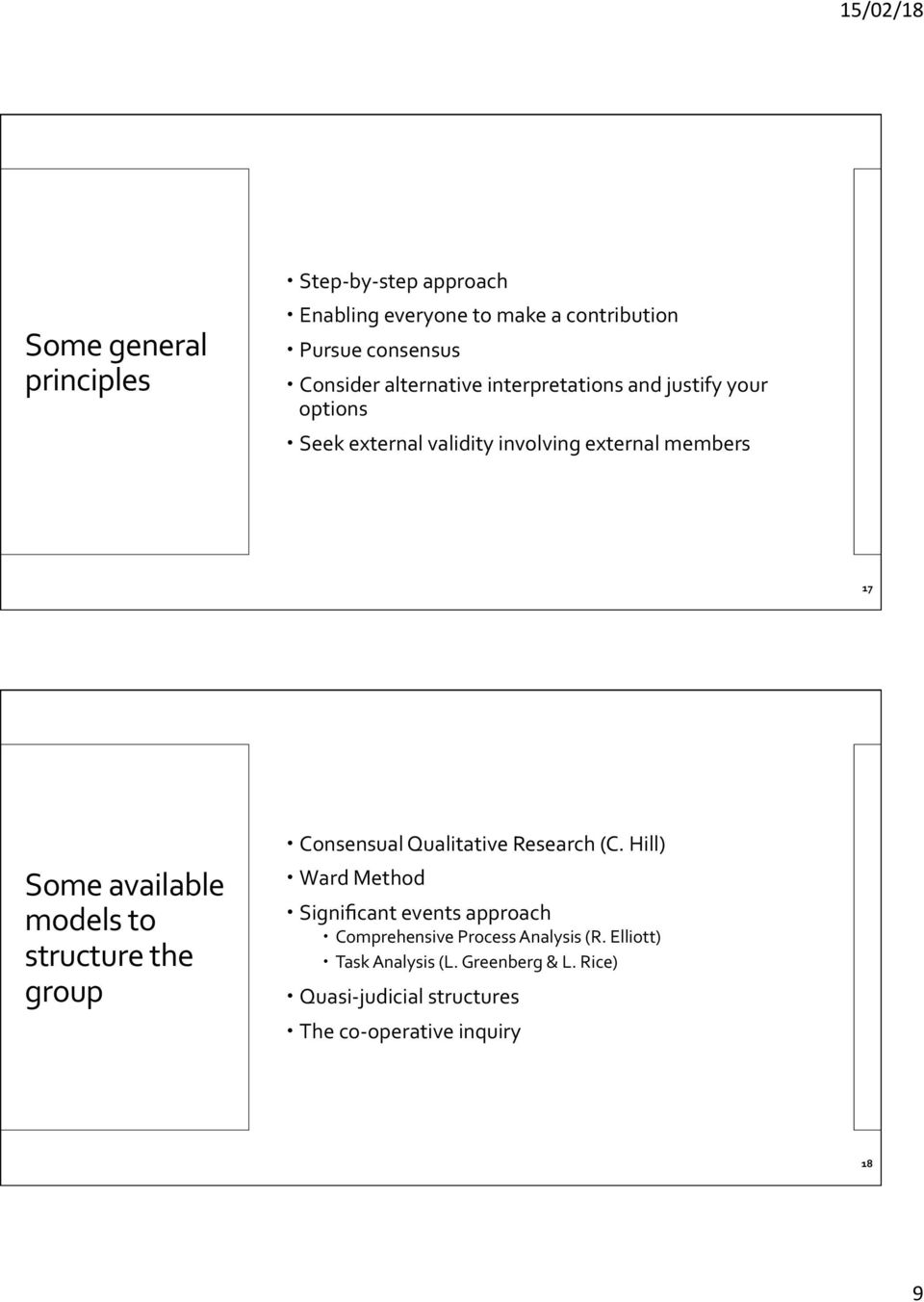models to structure the group Consensual Qualitative Research (C.