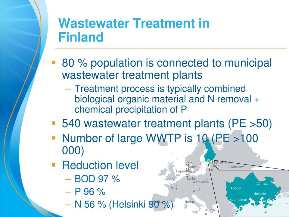 (PE >50) Number of large WWTP is 10 (PE >100 000) Reduction level BOD 97 % P 96 % Madrid N 56 % (Helsinki 90 %) Stockhol