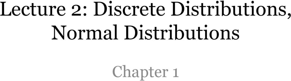 Distributions,