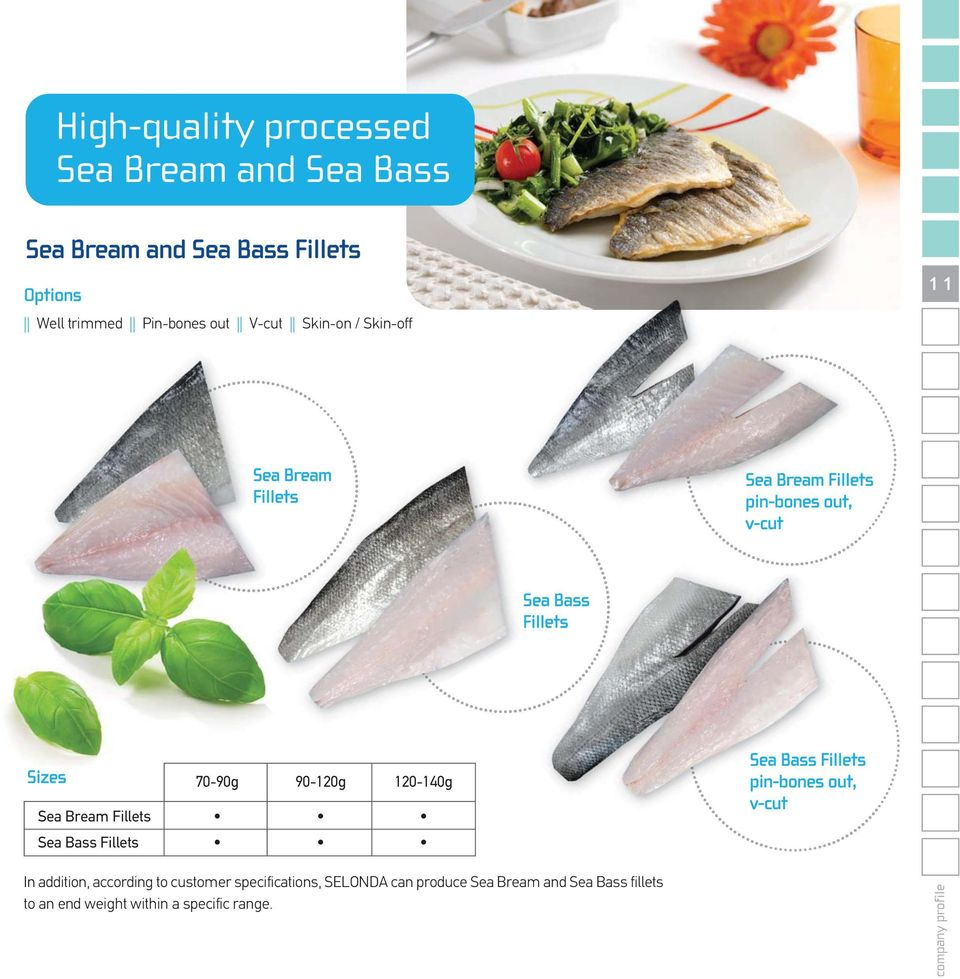 120-140g Sea Bream Fillets Sea Bass Fillets Sea Bass Fillets pin-bones out, v-cut In addition, according to