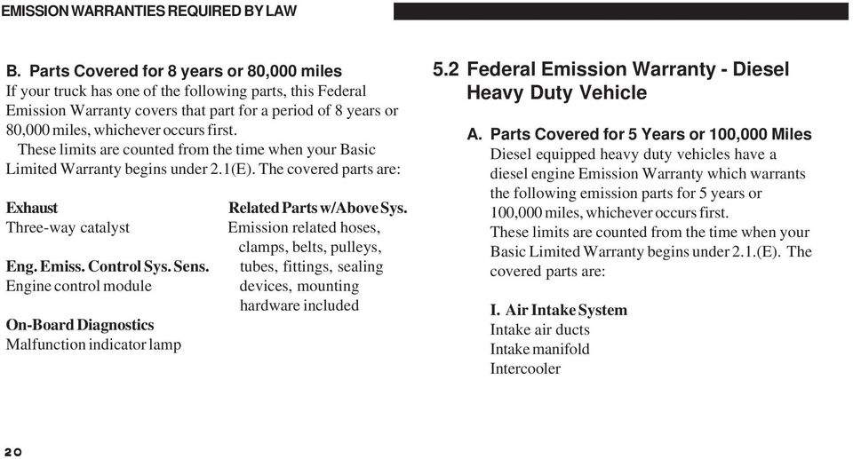 These limits are counted from the time when your Basic Limited Warranty begins under 2.1(E). The covered parts are: Exhaust Three-way catalyst Eng. Emiss. Control Sys. Sens.