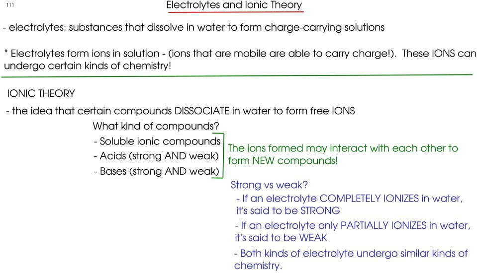 - Soluble ionic compounds - Acids (strong AND weak) - Bases (strong AND weak) The ions formed may interact with each other to form NEW compounds! Strong vs weak?