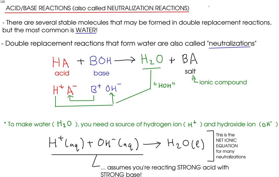 "- Double replacement reactions that form water are also called ""neutralizations"" acid base salt ionic compound * To make"