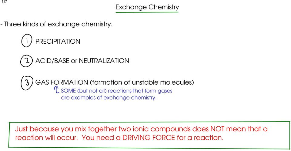 SOME (but not all) reactions that form gases are examples of exchange chemistry.