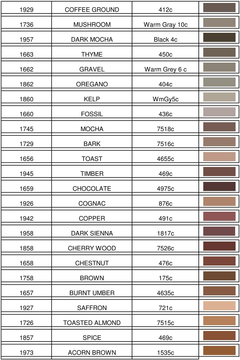 1659 CHOCOLATE 4975c 1926 COGNAC 876c 1942 COPPER 491c 1958 DARK SIENNA 1817c 1858 CHERRY WOOD 7526c 1658 CHESTNUT 476c