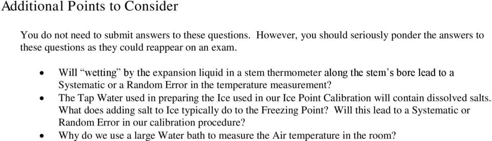 Will wetting by the expansion liquid in a stem thermometer along the stem s bore lead to a Systematic or a Random Error in the temperature measurement?