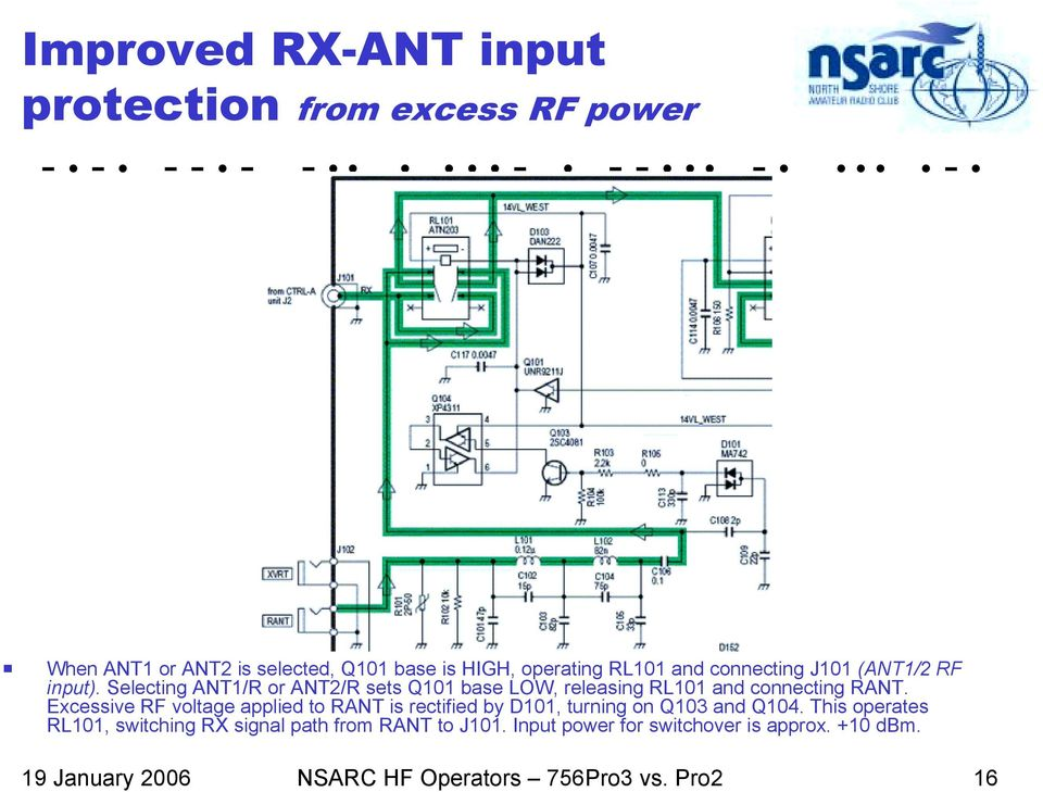 Selecting ANT1/R or ANT2/R sets Q101 base LOW, releasing RL101 and connecting RANT.
