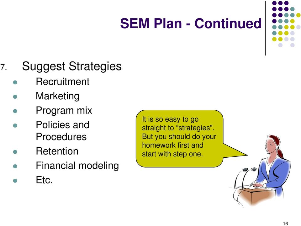 Policies and Procedures Retention Financial modeling Etc.