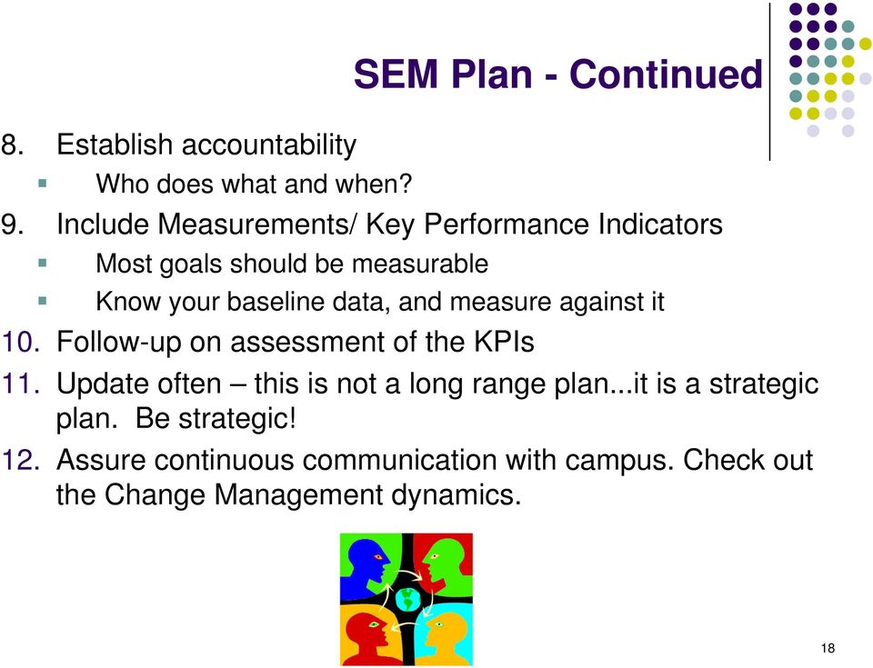 and measure against it 10. Follow-up on assessment of the KPIs 11.