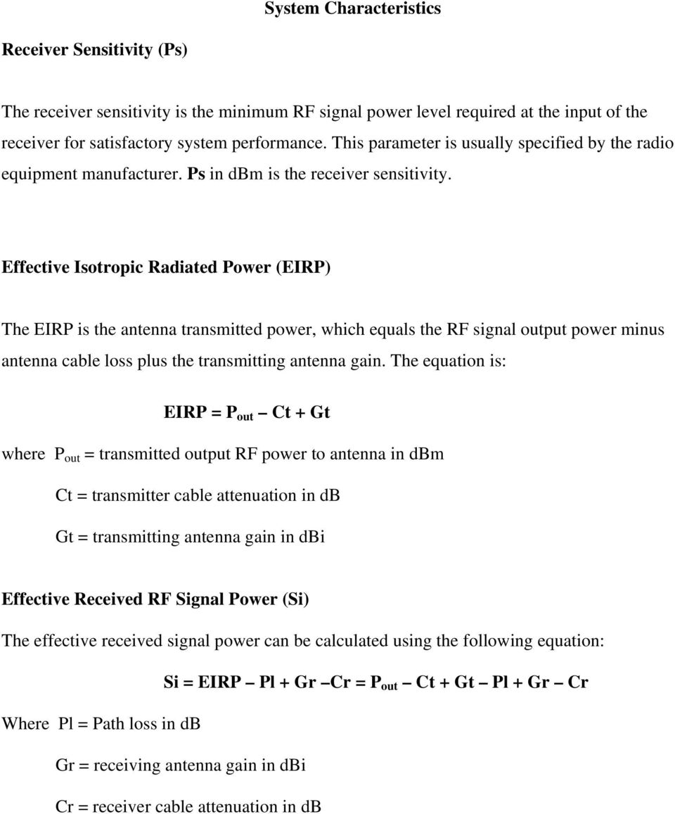 Effective Isotropic Radiated Power (EIRP) The EIRP is the antenna transmitted power, which equals the RF signal output power minus antenna cable loss plus the transmitting antenna gain.