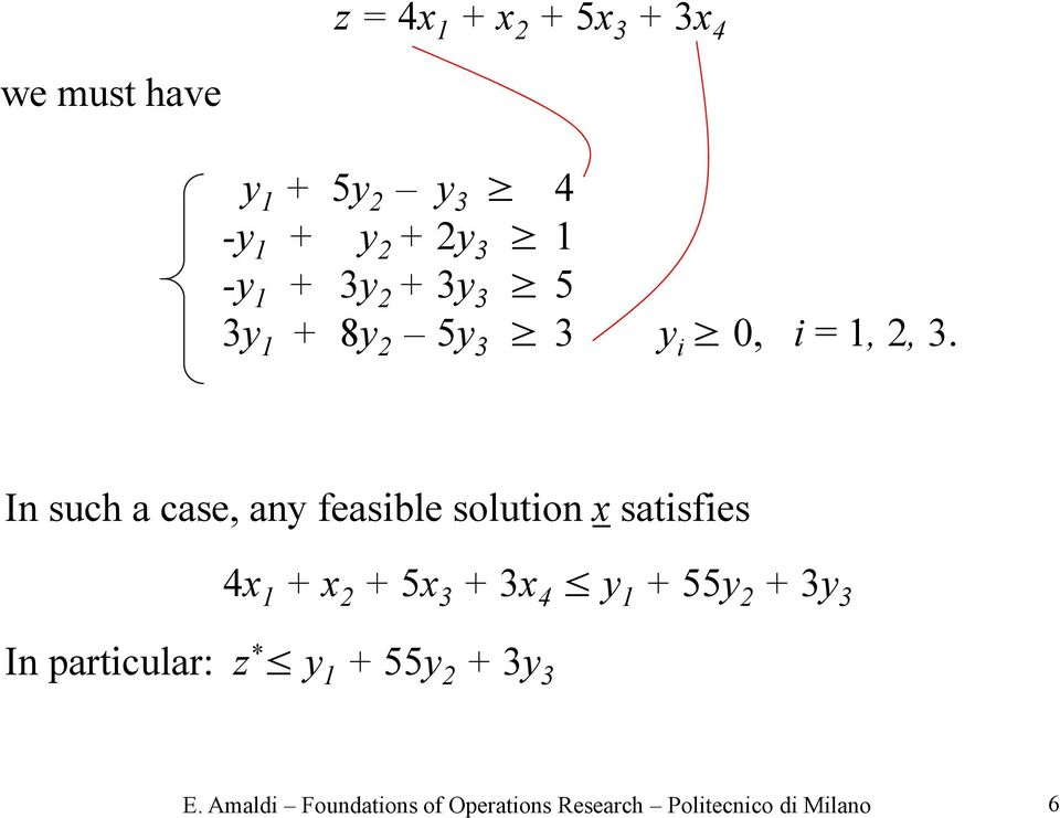 In such a case, any feasible solution x satisfies 4x 1 + x 2 + 5x 3 + 3x 4 y 1 + 55y