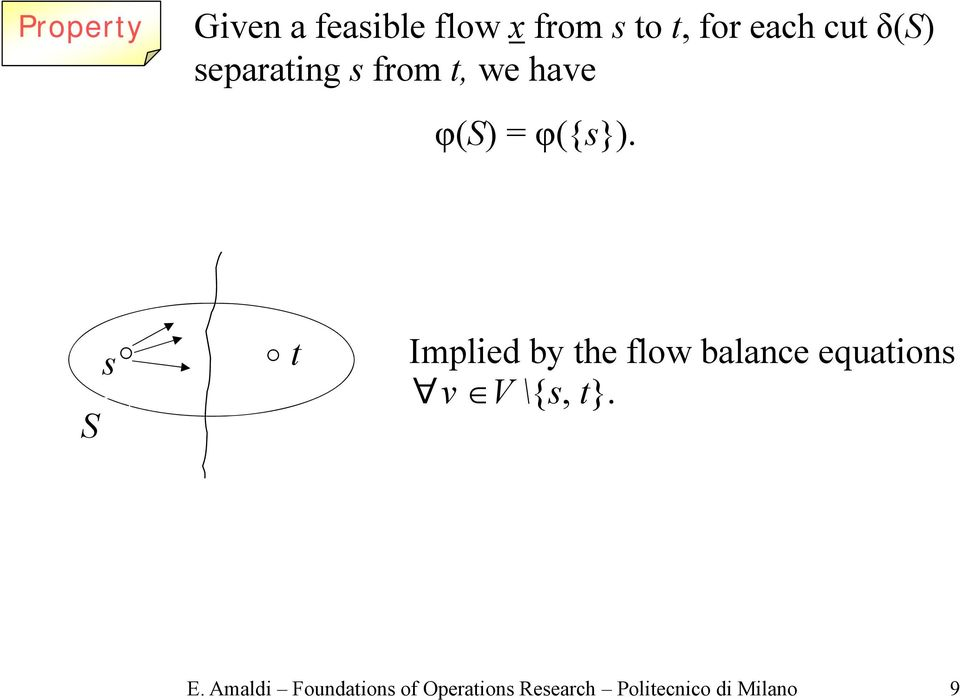 S Implied by he flow balance equaion v V\{, }. E.