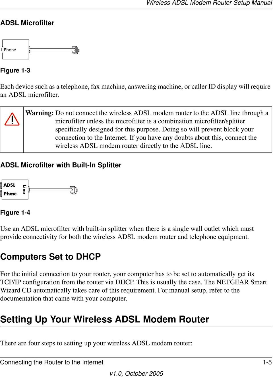 Doing so will prevent block your connection to the Internet. If you have any doubts about this, connect the wireless ADSL modem router directly to the ADSL line.