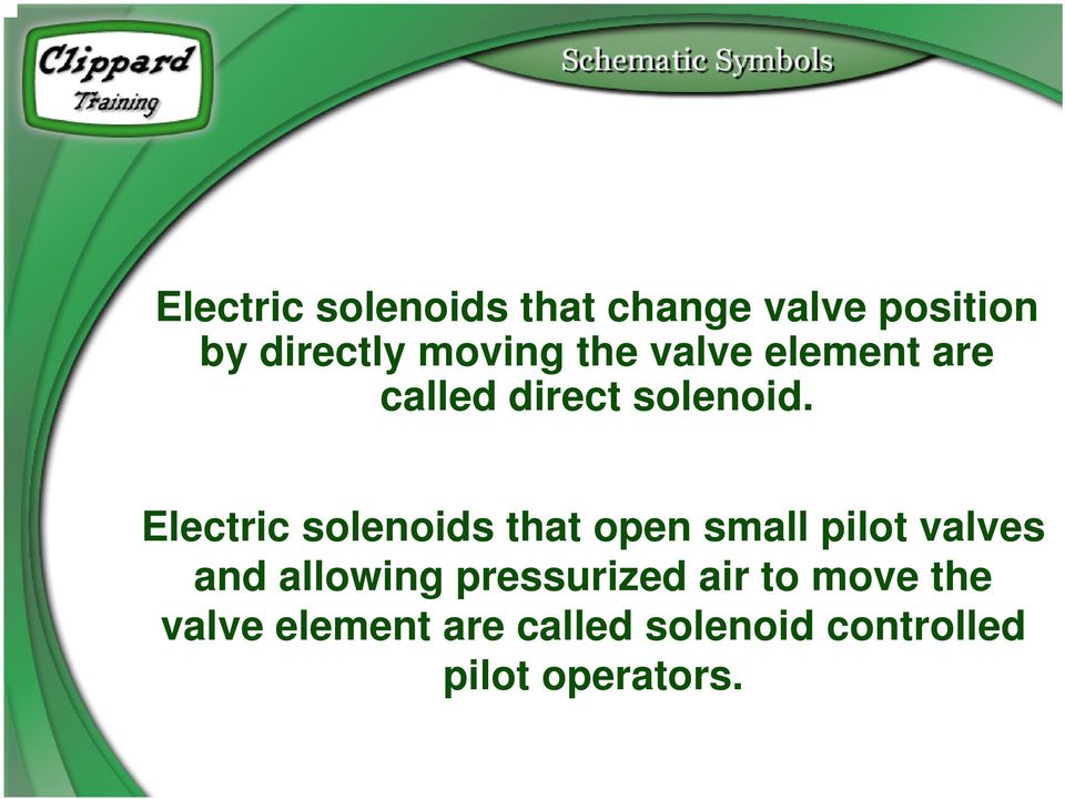 Electric solenoids that open small pilot valves and allowing