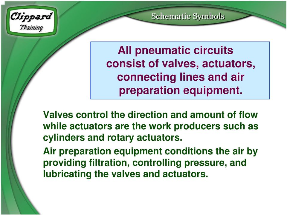 Valves control the direction and amount of flow while actuators are the work producers