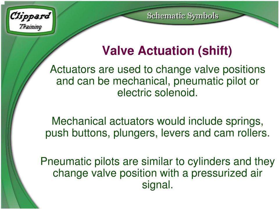 Mechanical actuators would include springs, push buttons, plungers, levers and