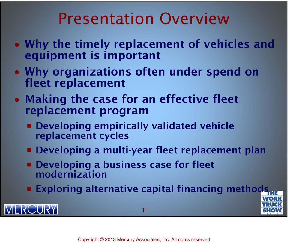 replacement program Developing empirically validated vehicle replacement cycles Developing a