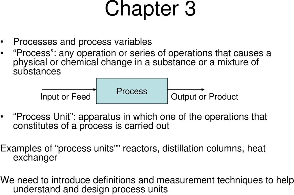 in which one of the operations that constitutes of a process is carried out Examples of process units reactors,
