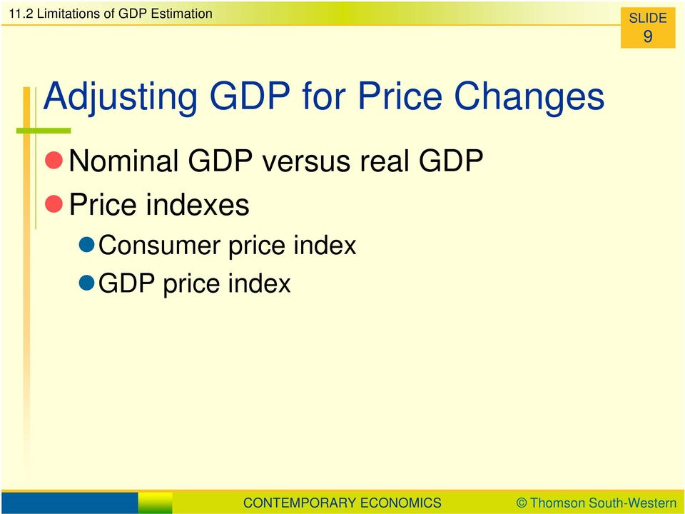 Changes Nominal GDP versus real GDP
