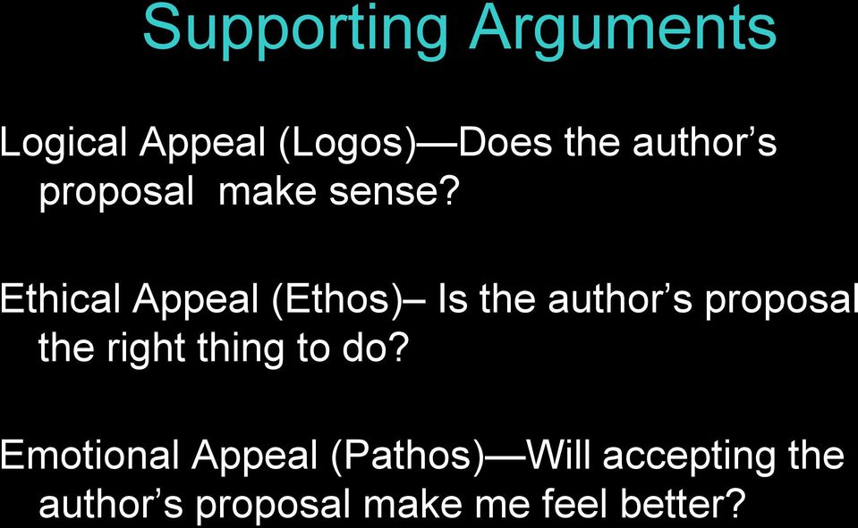 Ethical Appeal (Ethos) Is the author s proposal the right