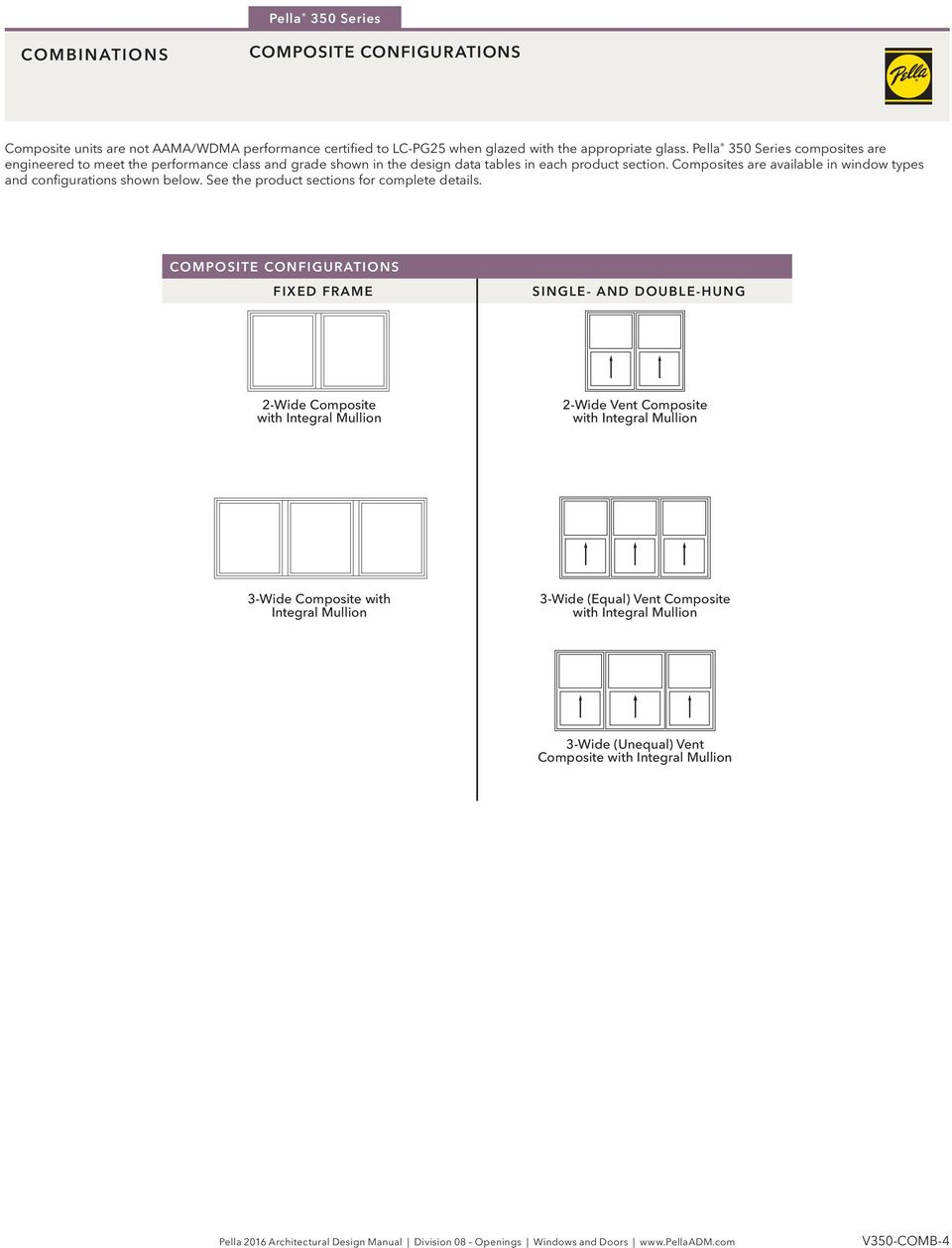 Composites are available in window types and configurations shown below. See the product sections for complete details.