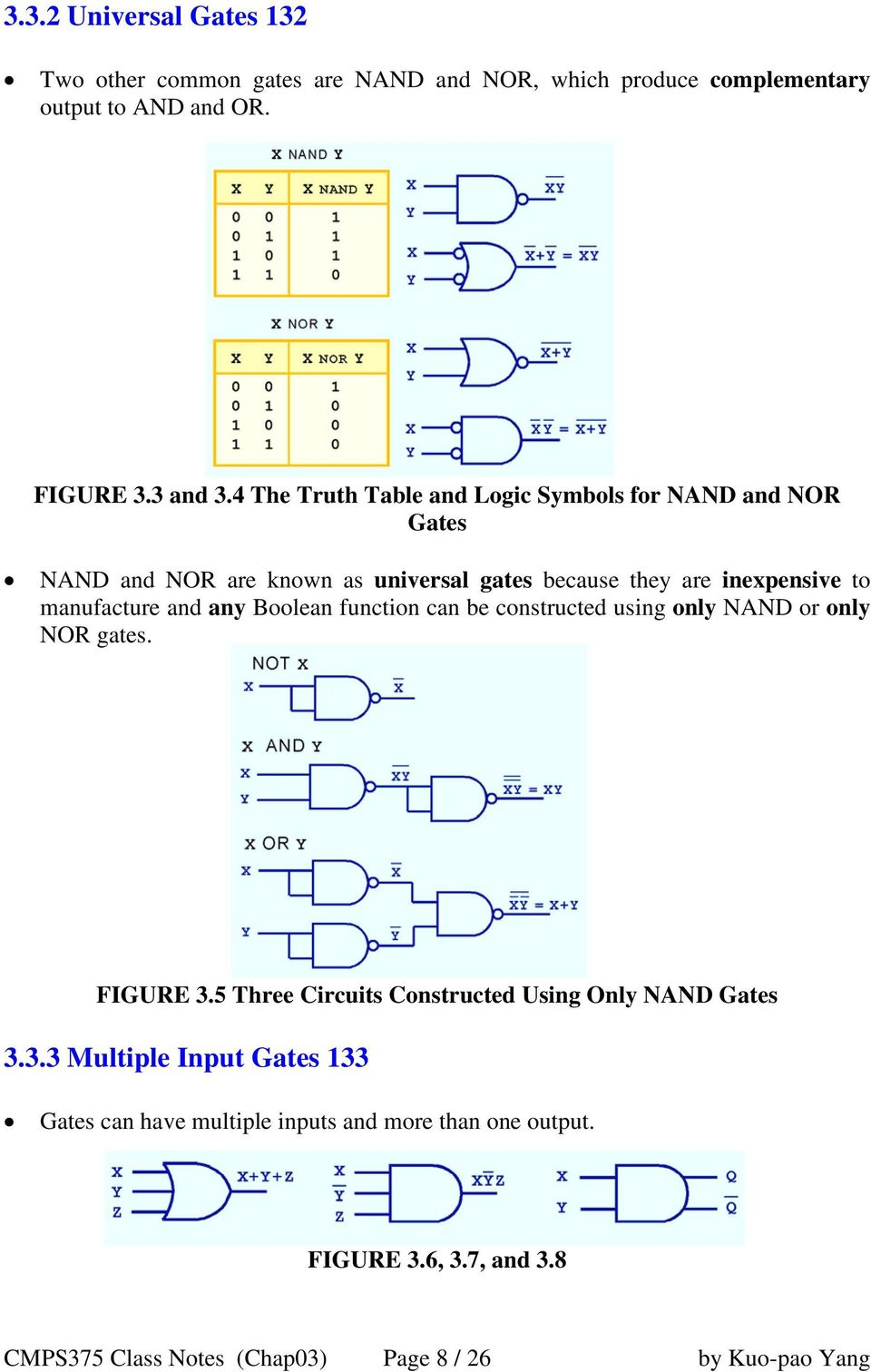 and any Boolean function can be constructed using only NAND or only NOR gates. FIGURE 3.