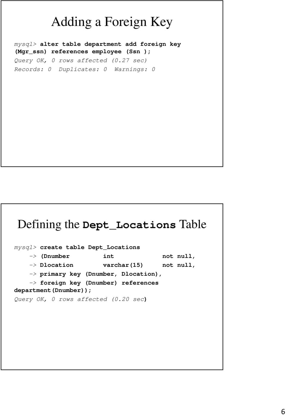 27 sec) Records: 0 Duplicates: 0 Warnings: 0 Defining the Dept_Locations Table mysql> create table