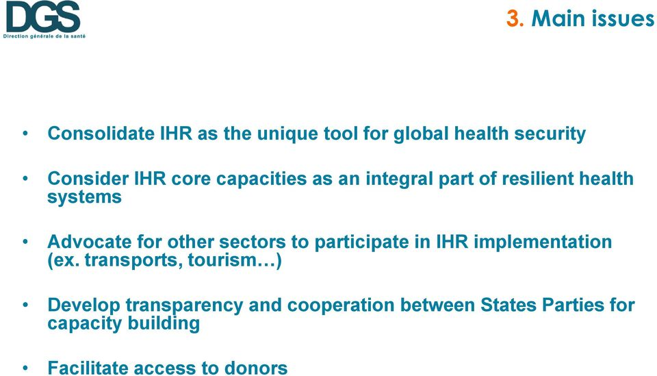 sectors to participate in IHR implementation (ex.