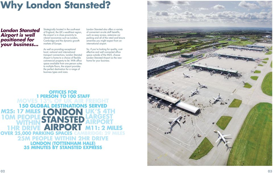Europe. As well as providing exceptional local, national and international transport connections, London Stansted Airport is home to a choice of flexible commercial property to let.
