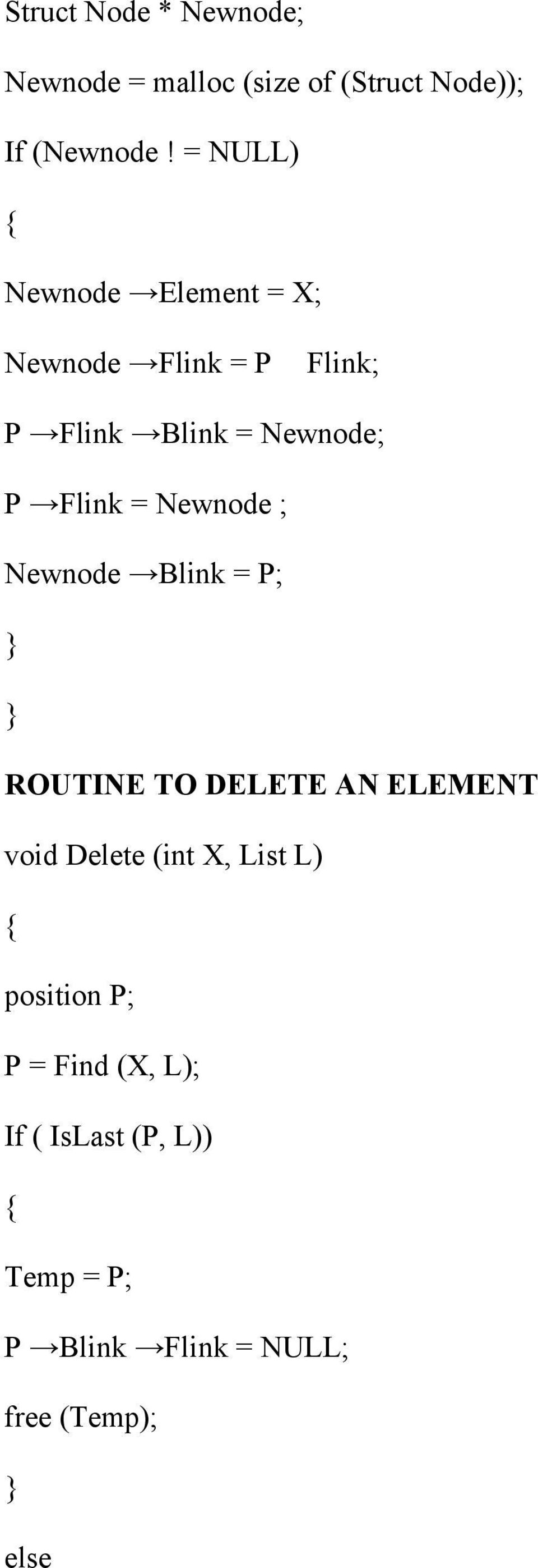 = Newnode ; Newnode Blink = P; ROUTINE TO DELETE AN ELEMENT void Delete (int X, List L)