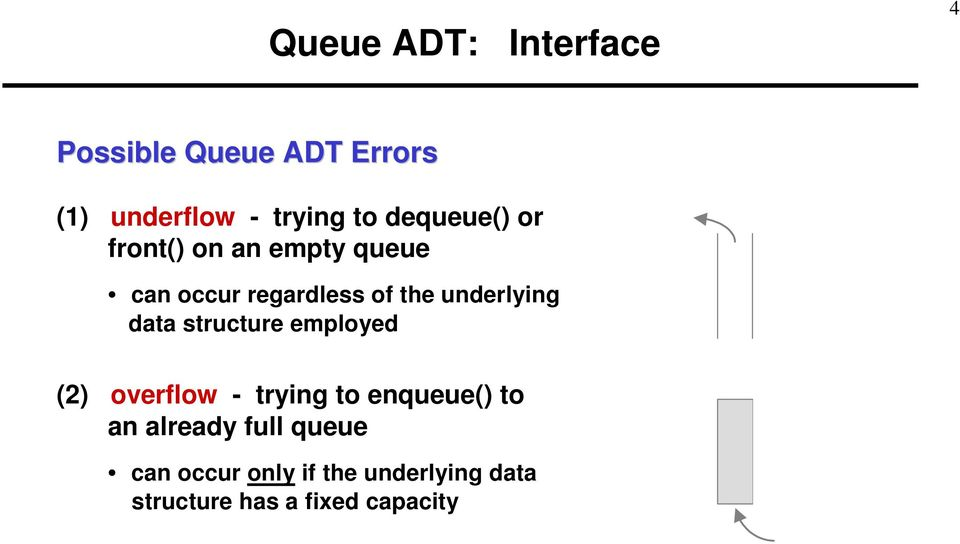 underlying data structure employed () overflow - trying to enqueue() to an