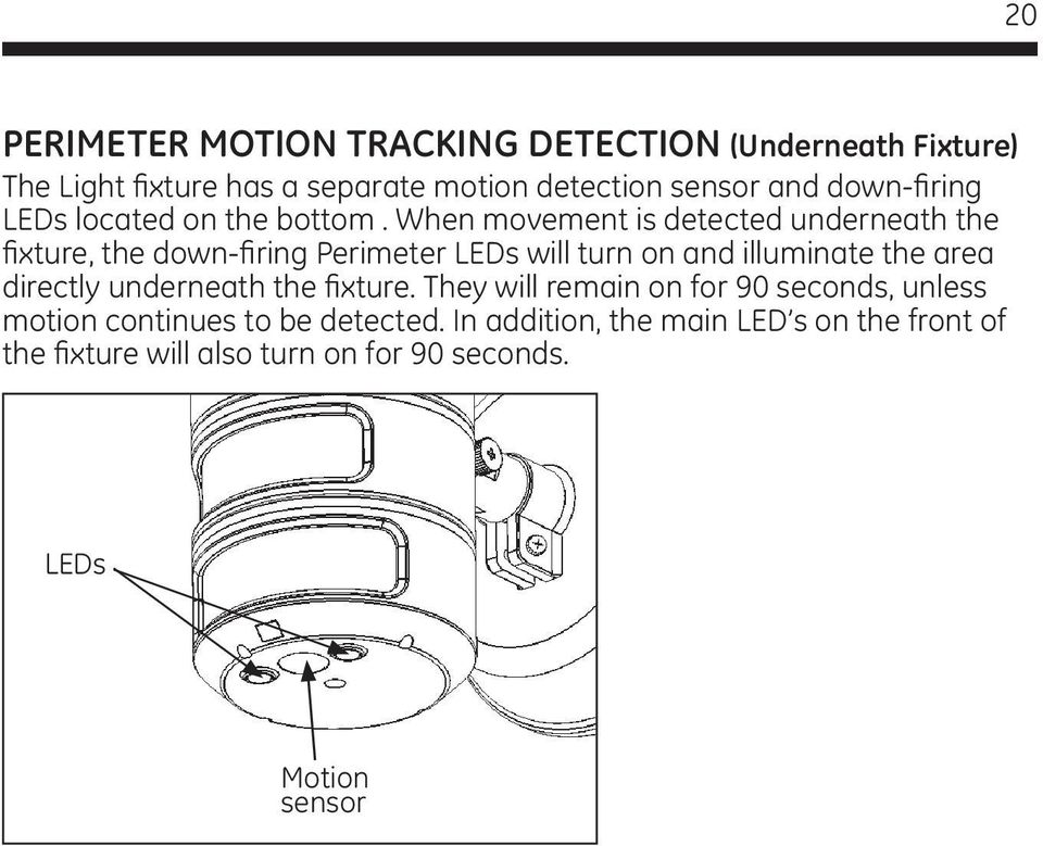 When movement is detected underneath the fixture, the down-firing Perimeter LEDs will turn on and illuminate the area