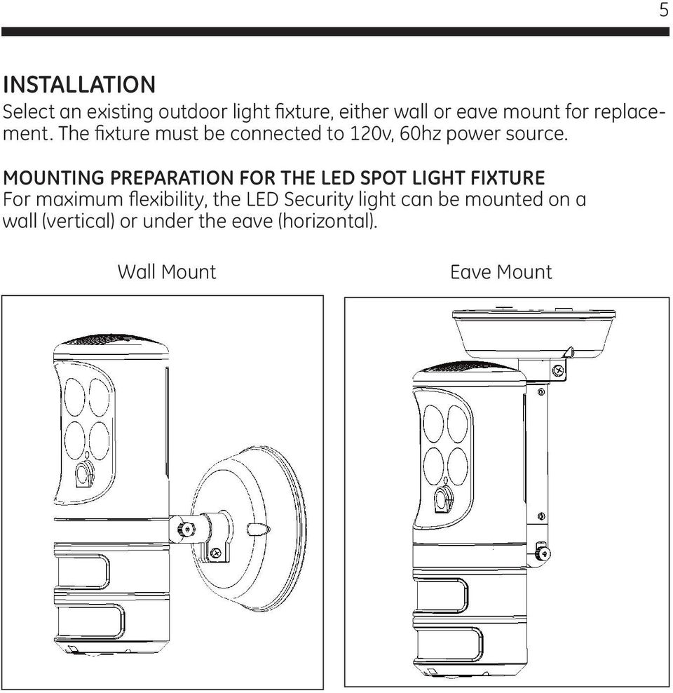 MOUNTING PREPARATION FOR THE LED SPOT LIGHT FIXTURE For maximum flexibility, the LED