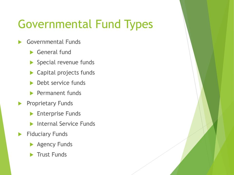 funds Permanent funds Proprietary Funds Enterprise Funds