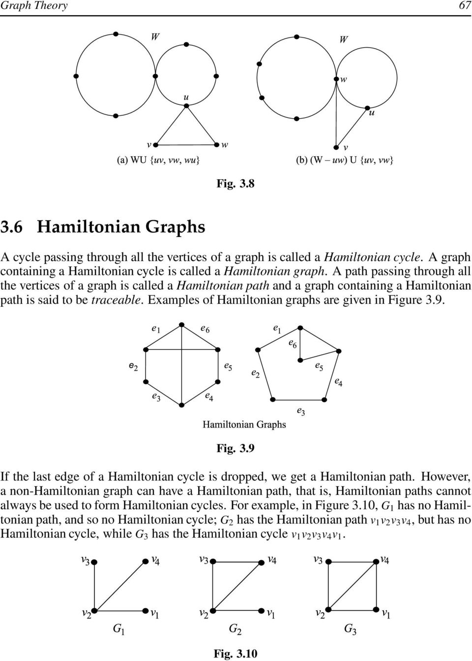 9. Fig. 3.9 If the last edge of a Hamiltonian cycle is dropped, we get a Hamiltonian path.