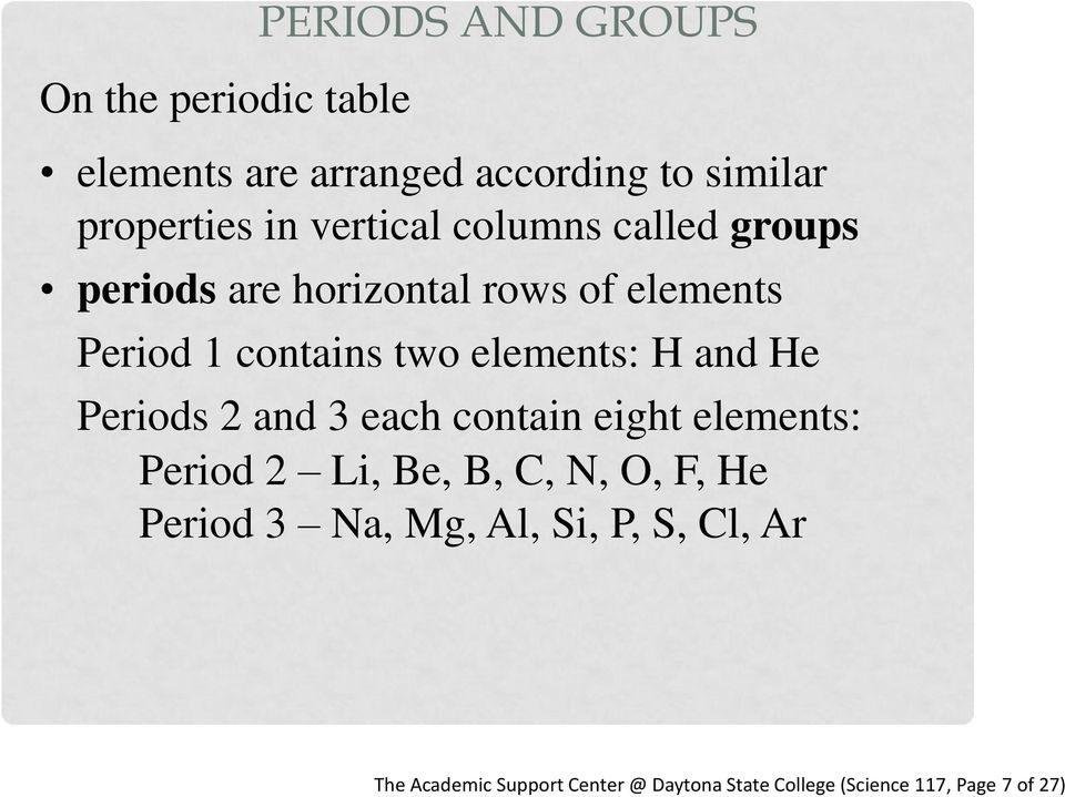 elements: H and He Periods 2 and 3 each contain eight elements: Period 2 Li, Be, B, C, N, O, F, He