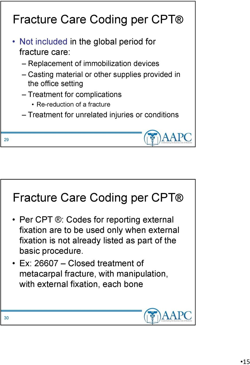 conditions 29 Fracture Care Coding per CPT Per CPT : Codes for reporting external fixation are to be used only when external fixation is not