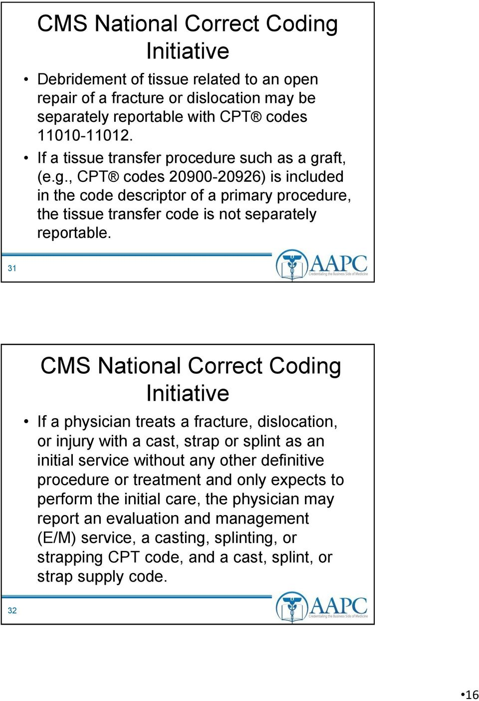 31 CMS National Correct Coding Initiative If a physician treats a fracture, dislocation, or injury with a cast, strap or splint as an initial service without any other definitive procedure or