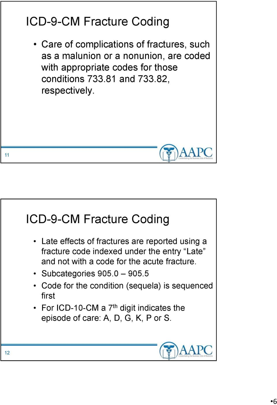 11 ICD-9-CM Fracture Coding Late effects of fractures are reported using a fracture code indexed under the entry Late and not
