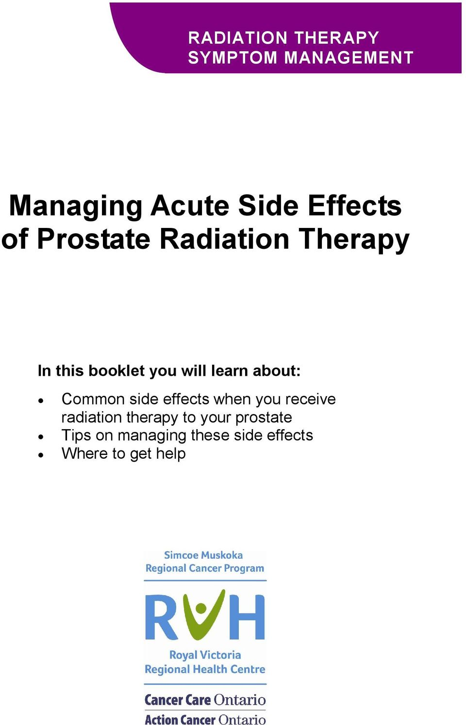 about: Common side effects when you receive radiation therapy to