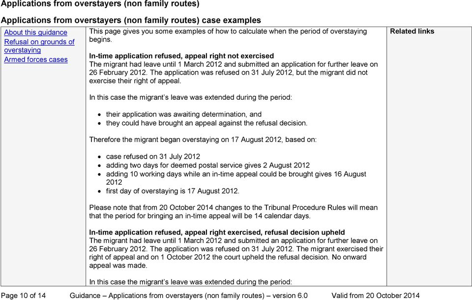 The application was refused on 31 July 2012, but the migrant did not exercise their right of appeal.