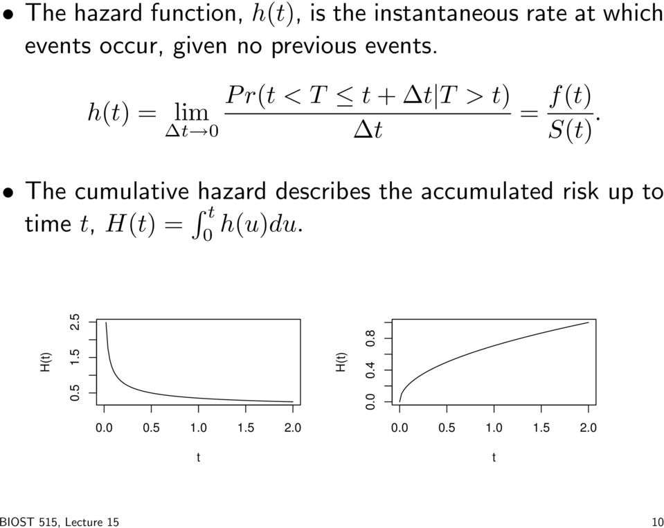 The cumulative hazard describes the accumulated risk up to time t, H(t) = t 0 h(u)du.