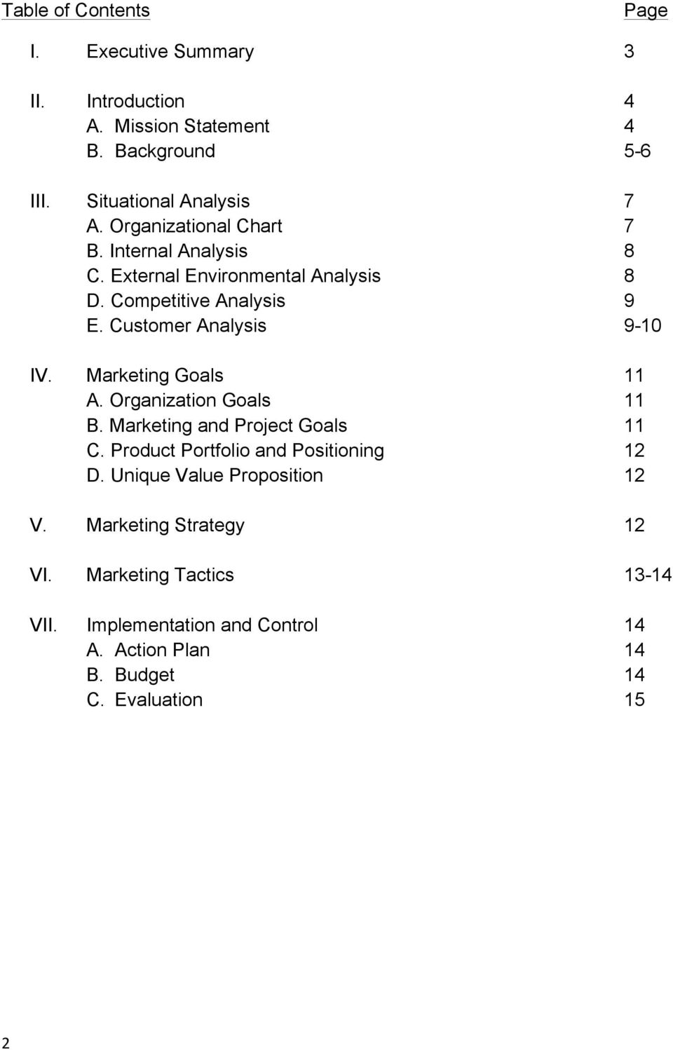 Marketing Goals 11 A. Organization Goals 11 B. Marketing and Project Goals 11 C. Product Portfolio and Positioning 12 D.