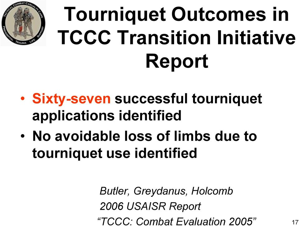 avoidable loss of limbs due to tourniquet use identified