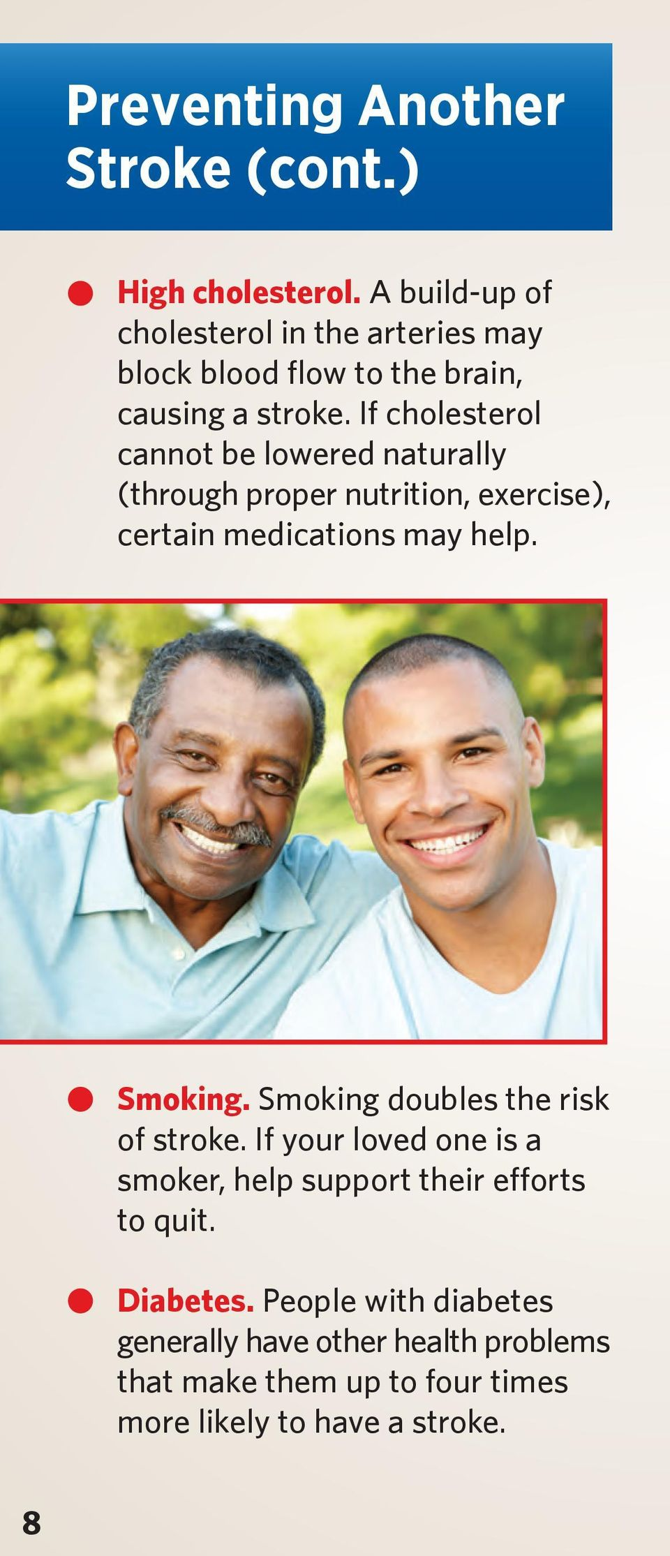 If cholesterol cannot be lowered naturally (through proper nutrition, exercise), certain medications may help. Smoking.