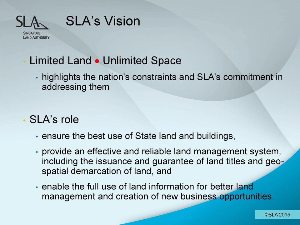 land management system, including the issuance and guarantee of land titles and geospatial demarcation of