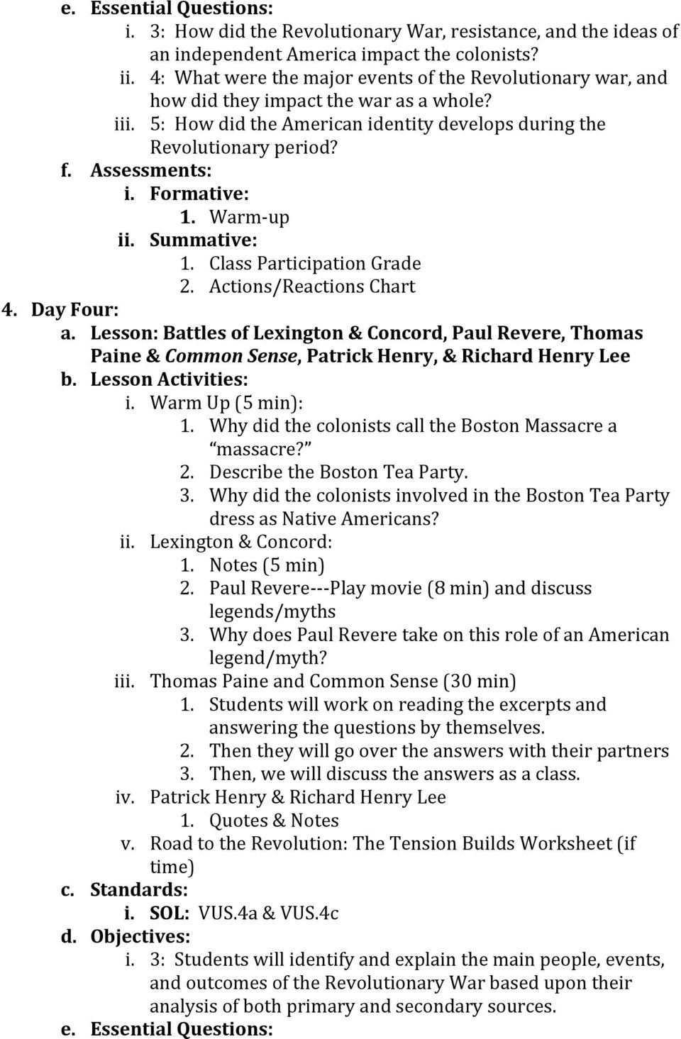 Unit plan the american revolution pdf warm up ii summative 1 class participation grade fandeluxe Gallery