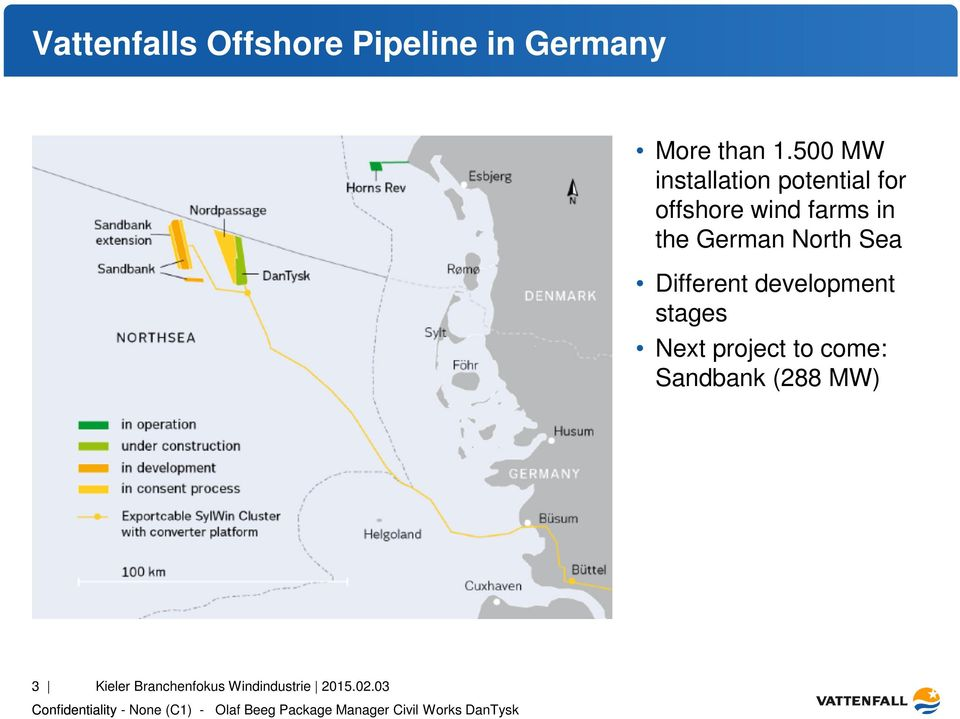 German North Sea Different development stages Next project to