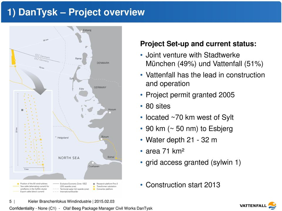 granted 2005 80 sites located ~70 km west of Sylt 90 km (~ 50 nm) to Esbjerg Water depth 21-32 m area