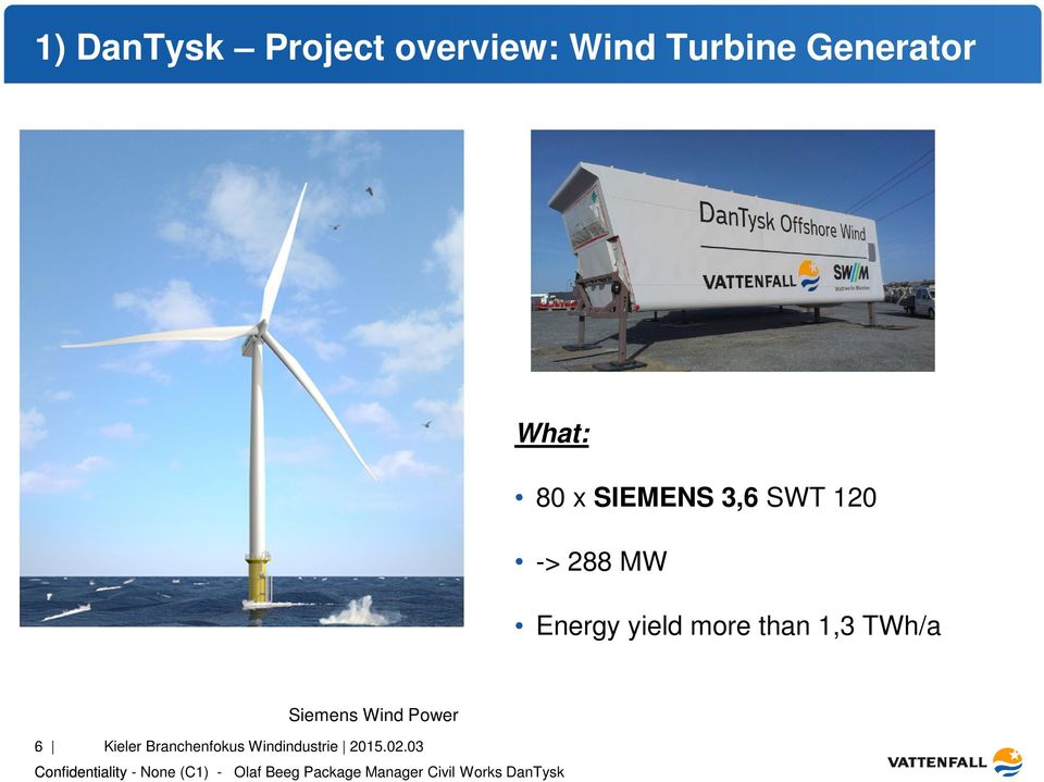 MW Energy yield more than 1,3 TWh/a Siemens Wind